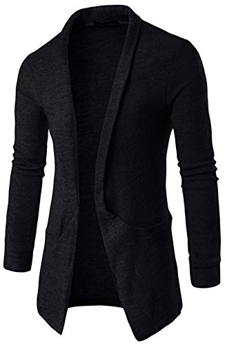 WHATLEES Unisex Hip Hop Urban Basic Schlichte Strickjacke Cardigan mit Kontrast Einsatz B338-Black-L