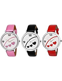 Matrix 3 White Dial & Leather Strap Analog Watches For Women's/Girls- Combo (Pack Of 3) - (TRP-27)