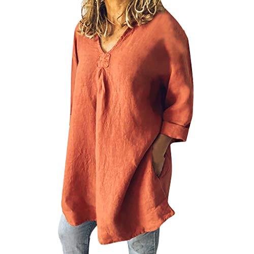 Dorical Herbst Linenhemden,Plus Size Damen Langarm V-Ausschnitt Pullover Oberteil Casual Lose Strand Tunika Tops Mode Hemdbluse,Ideal für Party und Oktoberfest Gr M-3XL(Orange,Medium)