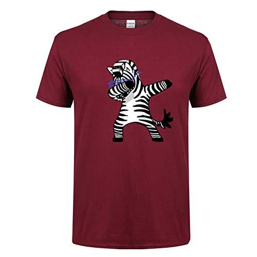 GIrisr Herren T-Shirt Sommer Baumwolle Zebra Print Rundhals Kurzarm Damen Herren T-Shirt Shirt (Mehrere Farben),Red,M - Jugend Red Zebra
