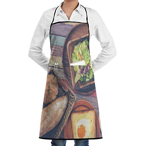 Drempad Unisex Schürzen, Breakfast Vegetable Bread Adjustable Bib Apron with Pockets - Commercial Restaurant and Home Kitchen Apron - Neck Strap- Extra Long Ties - Strong Black