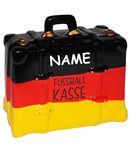 Unbekannt große Spardose -  Fußball Koffer - Deutschland  - incl. Namen - stabile Sparbüchse aus Porzellan / Keramik - Endspiel / Schland / Fussball Kasse - Reisekass..