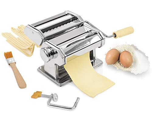 Sänger Pastamaschine aus Edelstahl mit verschiedenen Aufsätzen | Nudelmaschine für verschiedene Pastasorten | Verstellbares Walzwerk in 9 Stufen | Pastamaker mit Reinigungspinsel