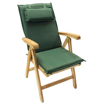Ambientehome Sitzkissen mit Rückenteil Auflage für Stuhl Hochlehner, dunkelgrün