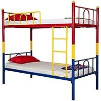 FurnitureKraft Single Size Bunk Bed (Glossy Finish, Tri-Color)