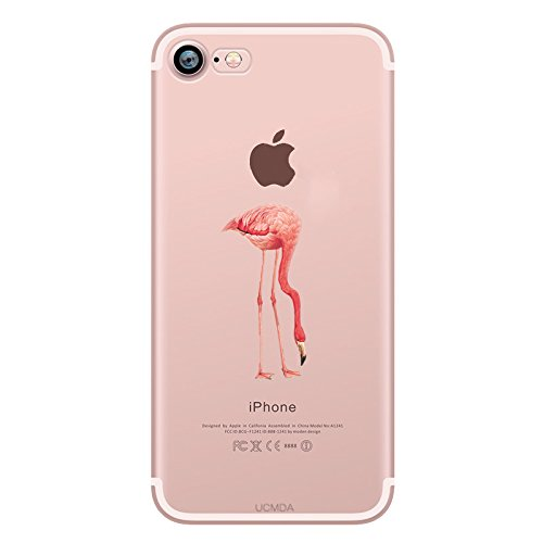 iPhone SE Custodia, iPhone 5/5S custodia in silicone trasparente, UCMDA Shock-Absorption Bumper e anti-graffio Trasparente Silicone Gel di TPU Cover posteriore con motivo a Male per Apple Iphone SE/5S/5, Flamingo, iPhone 7