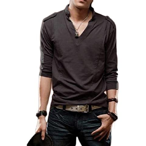 Fashion Shirt Tops Slim Fit Color Stylish V Neck Long Sleeve Men's T-shirts (COLOR : DARK GRAY)Asian Size by SaySure