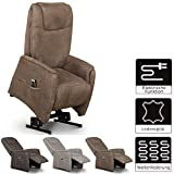 Cavadore Fernsehsessel Mamby / TV-Sessel elektrisch mit Aufstehhilfe und 2 Motoren zur Verstellung der Rückenlehne und Fußstütze / Ergonomie M / Belastbar bis 130 kg / Größe: 69x117x83 (BxHxT) / Farbe: Nuss (braun)