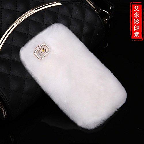 Coque iPhone 5C , iNenk® Nouveau lapin cheveux souple TPU Housse Etui Luxe Diamond Glitter perle marée manchon de protection en peluche créatif stylisme pour femmes-rose Blanc