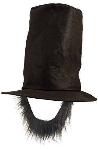 Fancy Me Herren Schwarz Abraham Lincoln American 4th Juli Independence Tag President Promi Kostüm Kleid Outfit Hut mit Bart Zubehör - Schwarz, One Size
