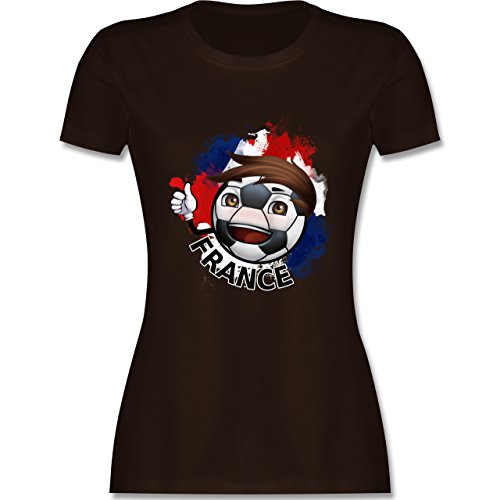 EM 2016 Frankreich France Fußballjunge tailliertes Premium TShirt mit  Rundhalsausschnitt für Damen Braun