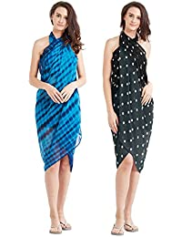 SOURBH Women's Faux Georgette Beach Wear Wrap Combo of 2 Sarong Printed Pareo Swimsuit Cover up (S41C_Grey,Blue)