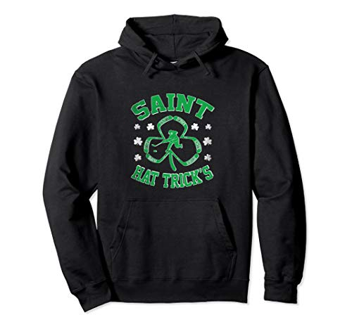 Funny Ice Hockey Sticks St Patrick's Day Shamrock Gift Pullover Hoodie