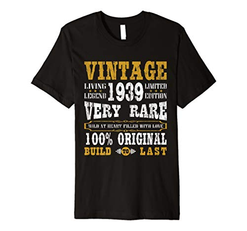 Vintage Made In 1939 80th Birthday Gift 80 Years Old T Shirt