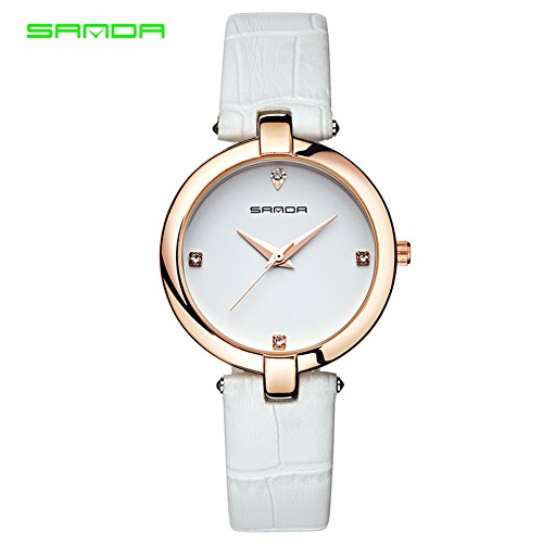 Montres pour les femmes, montre-bracelet de montre de bracelet en cuir de strass de quartz femelle analogue d'analogue de dame(White White)