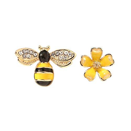AI.NI Asymmetrische Persönlichkeit Bee Sweet Flower Ohrringe ohr Nagel Klein und vielseitig Ohren Weibliche Mode Schmuck