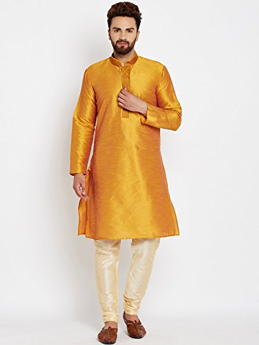 Royal Sojanya Men's Dupion Silk Kurta Churidaar With Self Brocade Design In Front Medium Mustard And Beige (Brocade Kurta)