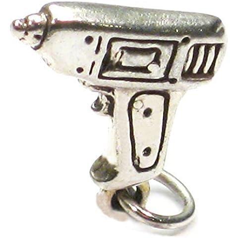 Ciondolo in argento Sterling .925x 1punta trapano Strumenti Charms sslp1873