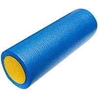 Rodillo de yoga - TOOGOO(R)rodillo de yoga de espuma de rejilla de masaje de 45cm de ejercicio de gimnasia azul y amarillo