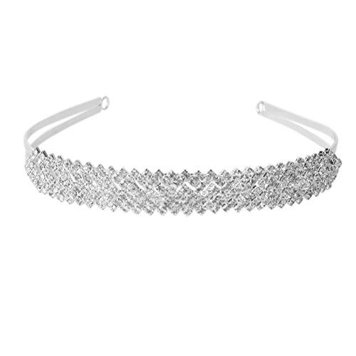 ROSENICE Kristall Diadem Haarband Brautschmuck Stirnband Strass Haarreif (Silber)