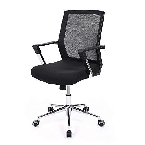 YUHT Mesh Büro Computer Stuhl,Bürodrehstuhl, ergonomisch geformter Home-Office-Stuhl,Lordosenstütze, Computerstuhl mit metallbeschichteter Armlehnenstange, höhenverstellbar,Schwarz -