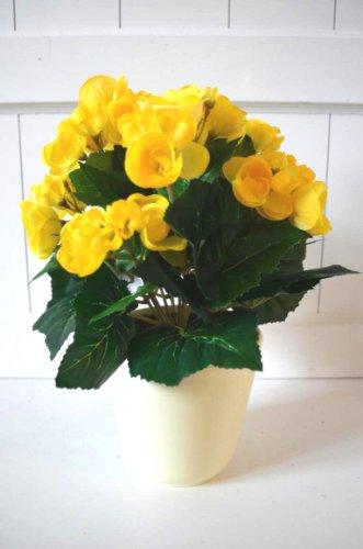 Begonie im Topf gelb Deko Dekoblume Blume künstlich Kunstpflanze Kunstblume ca. 30cm