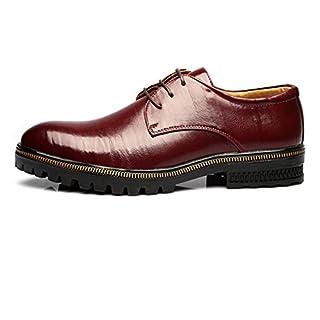 Jingkeke Herren Formale Business Oxfords Echtes Leder Lace-up Atmungsaktiv Gefüttert Starke Laufsohle Kleid Schuhe auffällig (Color : Wein, Größe : 41 EU)
