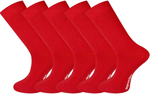 Mysocks® 5 Pairs Plain Red Mens Socks Made of Extra Fine Combed Cotton