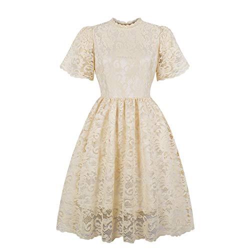 (Damen Kleid,❤️Binggong Damen Vintage Prinzessin Blumenspitze Cocktail O Hals Aline Swing Kleid)