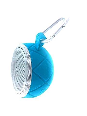 Haut-parleur portable Bluetooth sans fil Sport en extérieur par LAYEN. Bluetooth 4.0, imperméable (IPX6) et à la poussière (ipx5), bain, douche, camping, vélo, vélo, bateau, ski, snowboard, vacances, Voyage, Aventure avec crochet mousqueton d'escalade pour appels mains libres facile à transporter ronde., 5W + Haut-Parleur passif Basse Radiateur–Bluetooth ou Câble Aux 3,5mm–Jouer avec n'importe quel appareil, smartphone, tablette, iPhone, iPad, Apple, Android, etc.