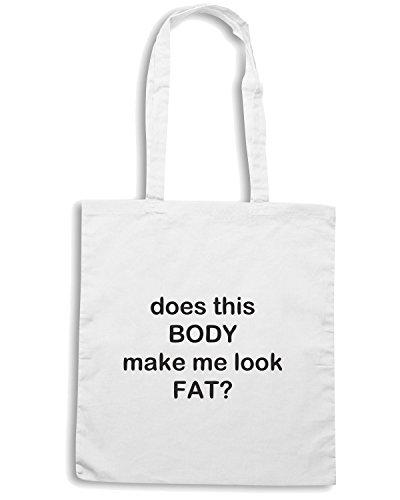 T-Shirtshock - Borsa Shopping TDM00059 does this body make me look fat Bianco
