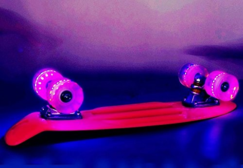 22 LED ESTILO PENNY RETRO CRUISER SKATEBOARD SKATING DECK BOARDS MONOPATIN SKATE (LA ROJA)