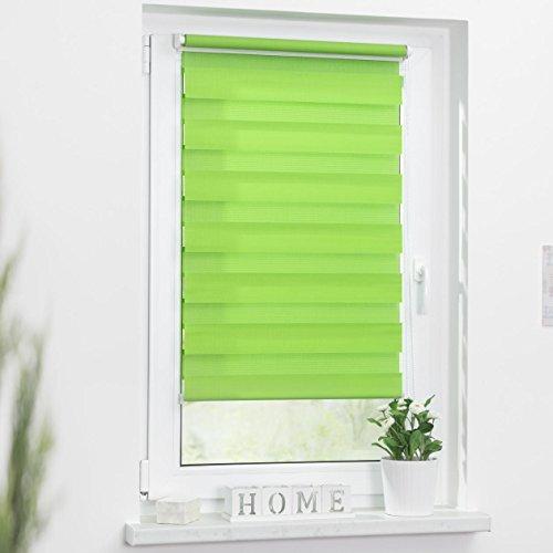 Lichtblick Duo-Rollo Klemmfix, 60 cm x 150 cm (B x L) in Grün, ohne Bohren, Doppelrollo für Fenster & Türen, moderner Sichtschutz, innovative Kombination aus Rollo & Jalousie - 2