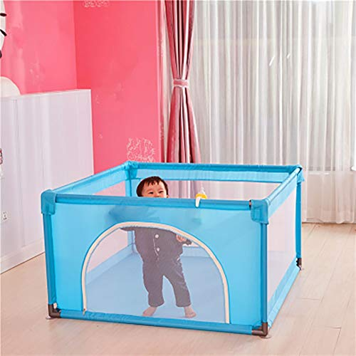 Playpen Baby with Crawling Mat, 4-Panel Small Portable Play Yard with Door, Blue Playground, 120x120x70cm  ERRU