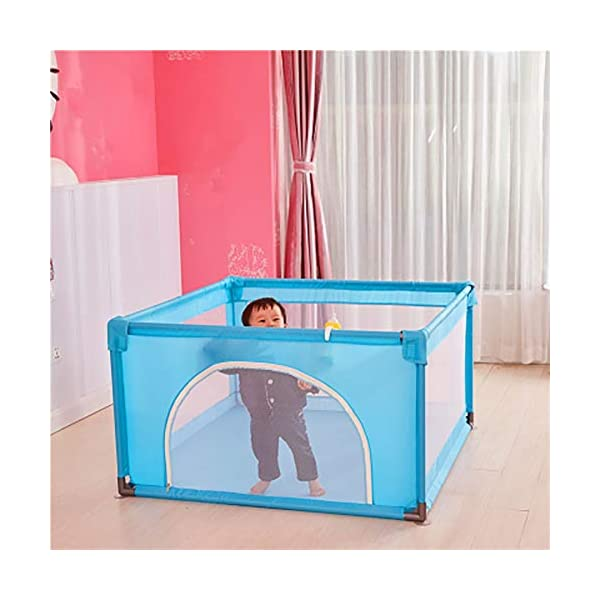 Playpen Baby with Crawling Mat, 4-Panel Small Portable Play Yard with Door, Blue Playground, 120x120x70cm Playpen  3