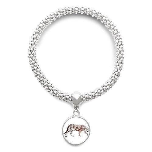 DIYthinker Damen Cheetah Braun Tier Sliver Armband Laufende Anhänger ()