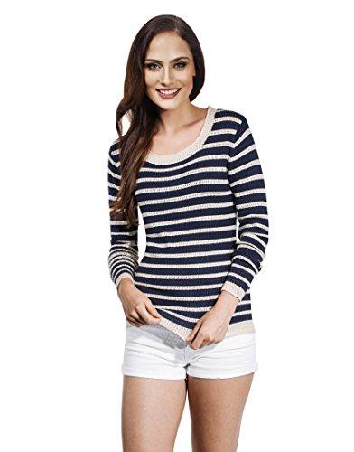 VB-Maglione da donna Loose maglia con strisce Ecru Medium