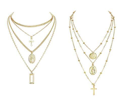 Finrezio 2 Stücke Mehrreihige Kette für Damen Frauen Mädchen Multilayer Choker Kette mit Anhänger Kreuz Quadrat Runde Halskette Y Farbe Gold