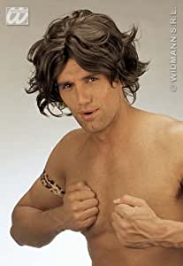 Brown Tarzan Wig George Of The Jungle Male Caveman Fancy Dress