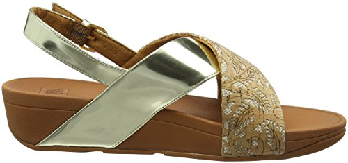 FitFlop Lulu Cross Back-Strap Cork, Sandales Bout Ouvert Femme Multicolour (Cork/Gold Mirror)
