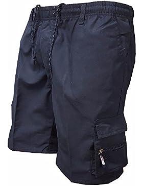 Pantalones Cortos Transpirables de la Moda de Verano de los Hombres Pantalones Cortos Sólidos Rectos Flojos