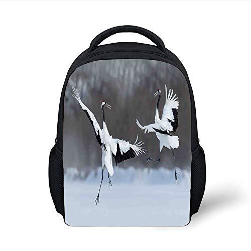Kids School Backpack Wildlife Decor,Dancing Pair of Red Crowned Crane with Open Wings in Flight Romantic Bird Print,White Plain Bookbag Travel Daypack
