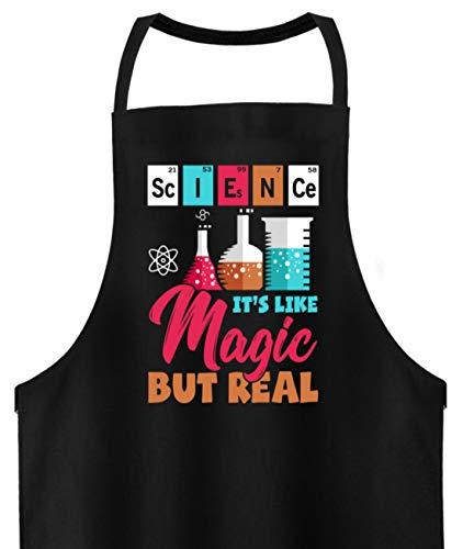 PlimPlom Science Its Like Magic But Real Lustige Spruch Kochschürze - Hochwertige Grillschürze -Einheitsgröße-Schwarz