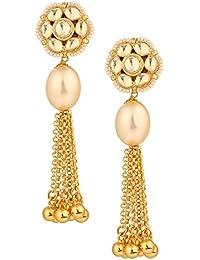 Sri Shringarr Fashion Traditional Micro Gold Polished Semi Precious Kundan Earrings for Women. EAR760ON