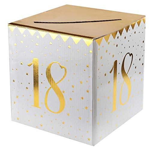 CHAL - Urna Hucha de cumpleaños 18 años, Color Blanco y Dorado Metalizado