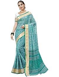 Aarti Apparels Women's Designer Cotton Saree_Blue_CRYSTAL-6224