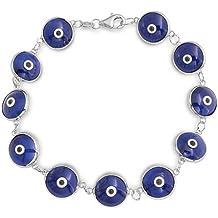 Bling Jewelry plata esterlina 925 mal de ojo de cristal azul marino Pulsera 7EN