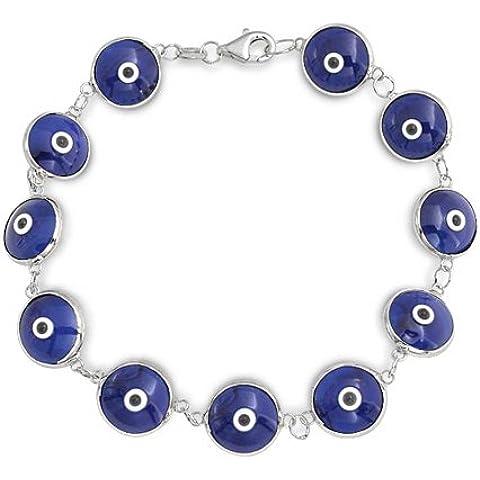 Bling Jewelry 925 Sterling Silver Navy Blue Glass Evil Eye Bracciale 7in
