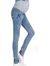 c6d32a889b8fb Hzjundasi Women Maternity Soft Stretchy Pants Leggings Waistband Jeans Over  The Bump