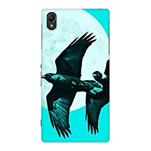 Stylish Raven Cyan Back Case Cover for Sony Xperia Z1